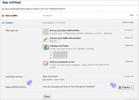 facebook apps edit settings