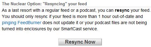 resync feed