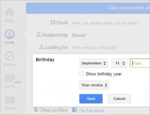 edit ulang tahun di google+