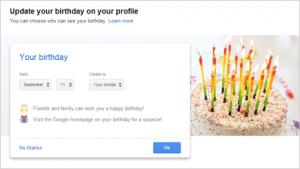informasi ulang tahun di google+