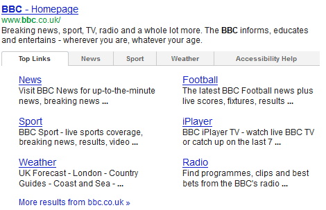 tab sitelink google
