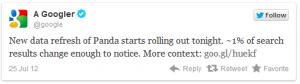 update status google panda di twitter