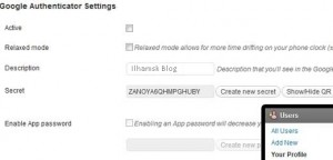 google authenticator wpsettings