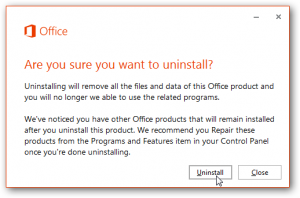 konfirmasi uninstall office 2013