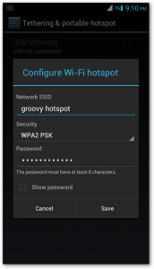 setting tethering android