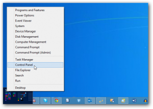 Control Panel Windows 8 Power Menu