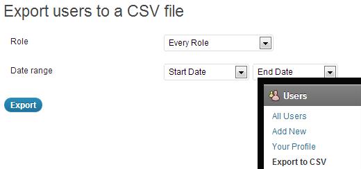 ekspor data pengguna wordpress ke csv