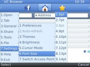 fitur font di uc browser