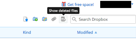 show deleted files - dropbox