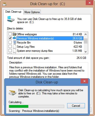 membersihkan file instalasi windows lama