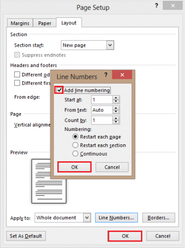 ceklis add line numbering