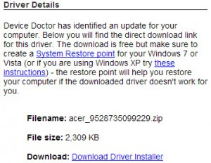 detail download driver