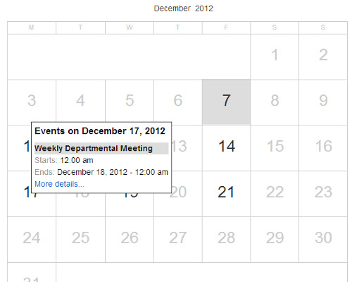 hasil tampilan plugin google calendar events