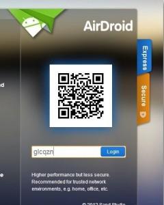 masukkan kode security airdroid