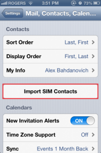 pilihan import sim contacts