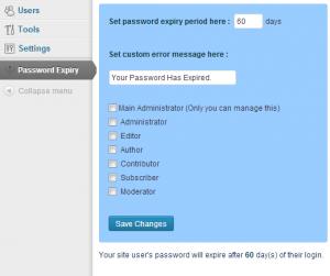 plugin password expiry
