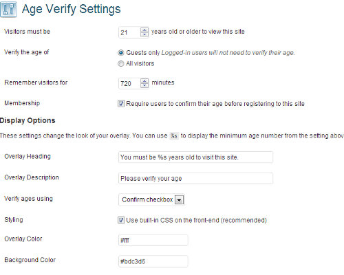 setting age verify wordpress