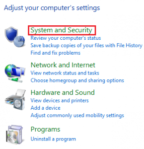 system and security di windows 8