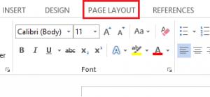 word 2013 menu page layout