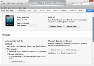 back up ipad via itunes