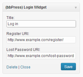 login widget bbpress