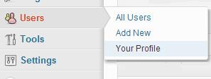 menu user profile wordpress
