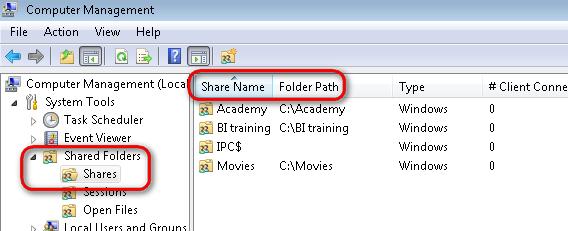 cara menemukan shared folder
