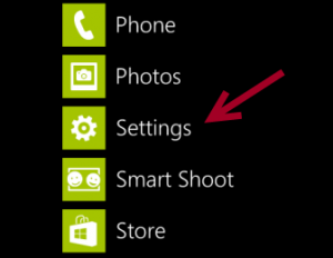 menu settings windows phone 8