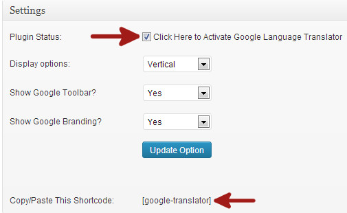 setting plugin google translator