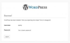 pesan sukses instal wordpress