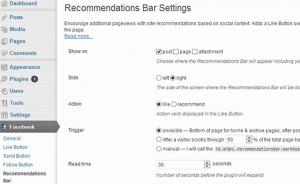 setting recommendation bar