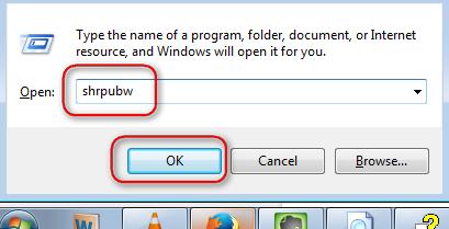 shrpubw menjalankan file sharing wizard