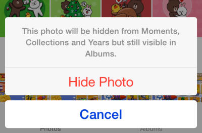 hide photo ios 8