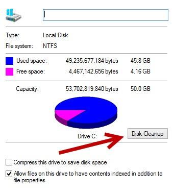 klik disk cleanup