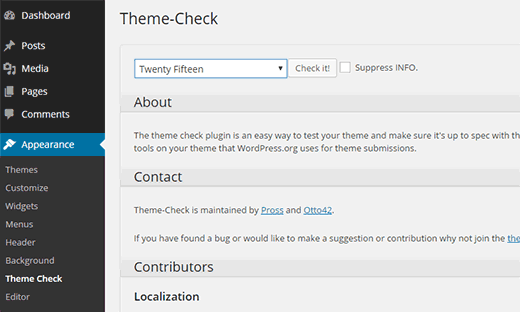 plugin wordpress theme check