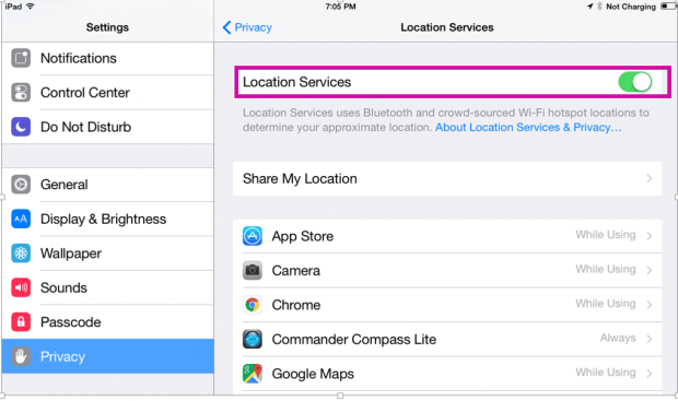 location services di ipad