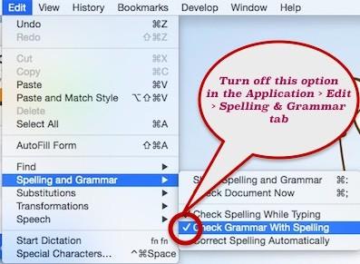 menonaktifkan spelling and grammar di mac