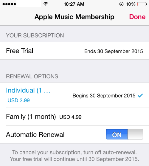 menonaktifkan automatic renewal apple music